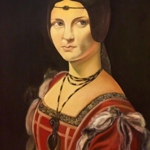 Belle Ferronnière, Leonardo da Vinci. Riproduzione olio su tela © Silvana Martini