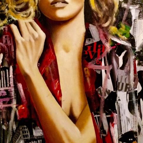 Quadro pop art, tecnica mista e collage © Silvana Martini