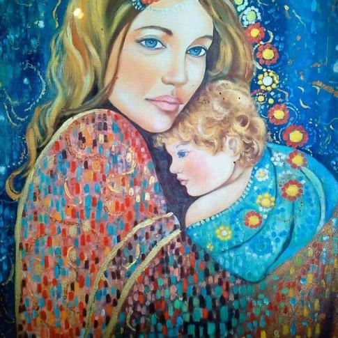 Madonna con bambino, olio su tela © Silvana Martini
